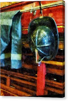 Fireman - Fireman's Helmet And Jacket Canvas Print by Susan Savad
