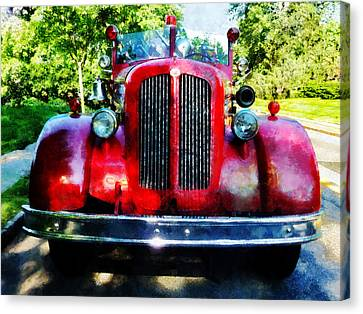 Fireman - Front Of Old Fire Engine Canvas Print by Susan Savad