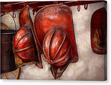 Fireman - Hat - Old Fashioned Fire Hats  Canvas Print by Mike Savad