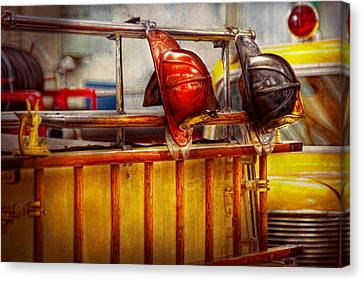Fireman - Hat - Waiting For A Hero  Canvas Print by Mike Savad
