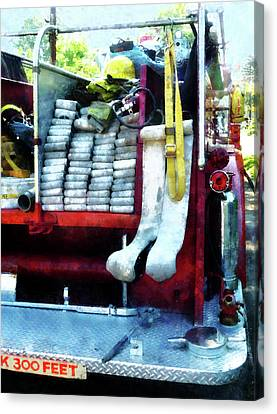Firefighters Canvas Print - Fireman - Hoses On Fire Truck by Susan Savad