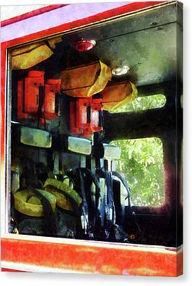 Fireman - Inside The Fire Truck Canvas Print by Susan Savad