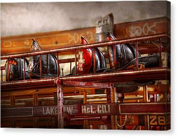 Fireman - Ladder Company 1 Canvas Print by Mike Savad