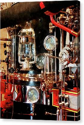 Fireman - Lantern And Gauges On Fire Truck Canvas Print by Susan Savad