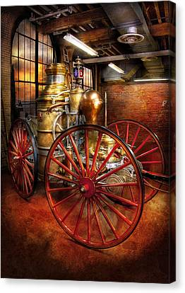 Wagon Canvas Print - Fireman - One Day A Long Time Ago  by Mike Savad