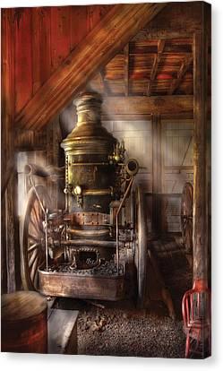 Fireman - Steam Powered Water Pump Canvas Print by Mike Savad