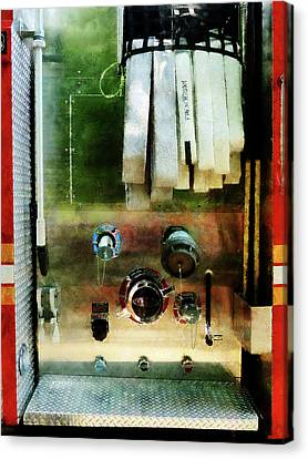 Fireman - White Hose And Nozzles Canvas Print by Susan Savad