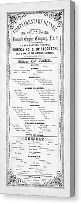 Firemen Dinner Menu - San Francisco - 1856 Canvas Print by Daniel Hagerman