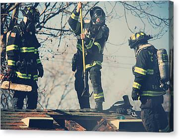 Firemen Canvas Print by Laurie Search