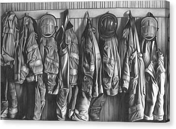 Firemen's Coats Canvas Print by Jerry Winick