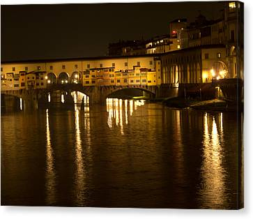 Firenza Florence Italy Ponte Vecchio At Night Canvas Print