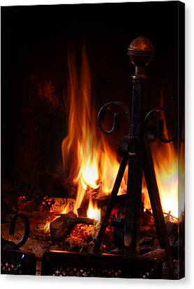 Wood Burning Canvas Print - Fireplace by Alessandro Della Pietra