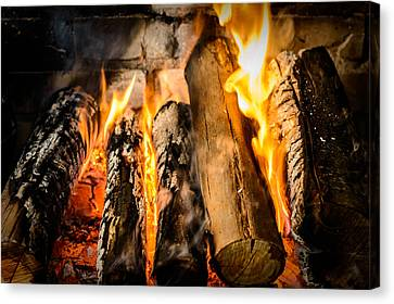 Wood Burning Canvas Print - Fireplace II by Marco Oliveira