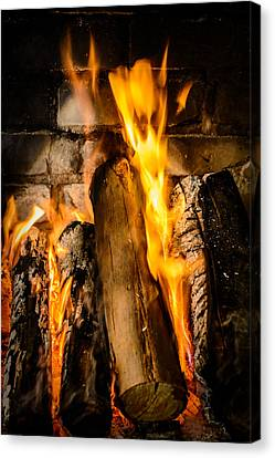 Wood Burning Canvas Print - Fireplace by Marco Oliveira