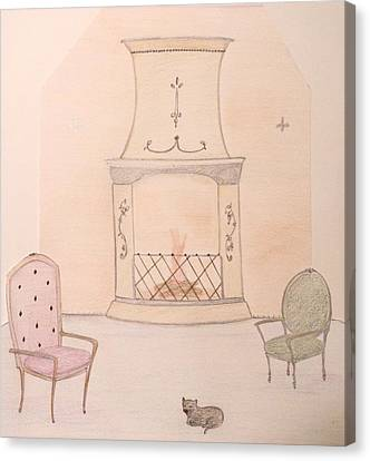 Fireside Kitten Canvas Print by Christine Corretti