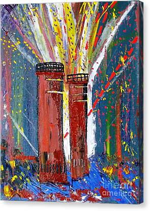 Firetowers Fireworks Canvas Print by Leslie Byrne