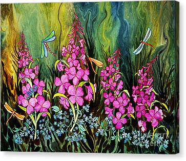 Fireweed And Dragonflies Canvas Print by Teresa Ascone