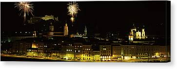 Firework Display Over A Fort Canvas Print by Panoramic Images
