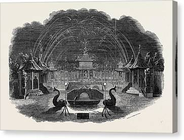 Firework Temple At Vauxhall Canvas Print by English School