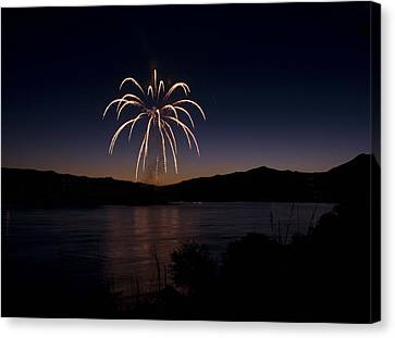 Canvas Print featuring the photograph Fireworks 11 by Sonya Lang