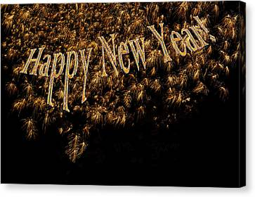 Fireworks 2013 In Elegant Gold And Black Canvas Print by Marianne Campolongo