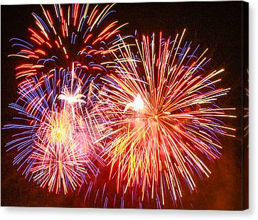 Canvas Print featuring the photograph Fireworks 4th Of July by Robert Hebert