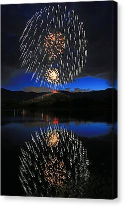 Fireworks Above Memorial Hill. Canvas Print