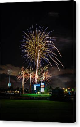 Fireworks And Baseball Canvas Print by Jeff Donald