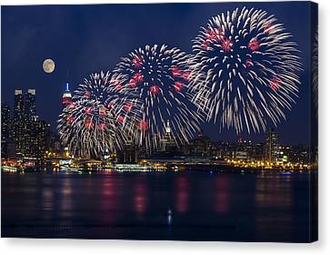 Fireworks And Full Moon Over New York City Canvas Print by Susan Candelario