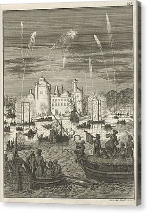 Fireworks And Gondolas In Cairo, Egypt, Jan Luyken Canvas Print by Jan Luyken