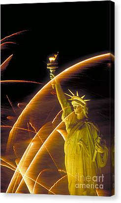 Pyrotechnics Canvas Print - Fireworks And The Statue Of Liberty by Andy Levin