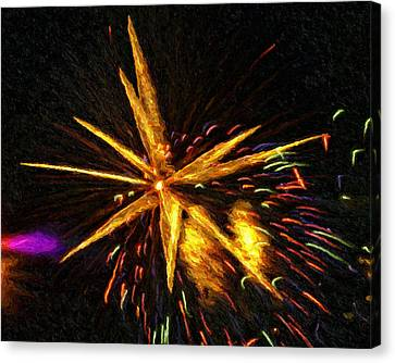 Fireworks As I See Them  3 Canvas Print by F Leblanc