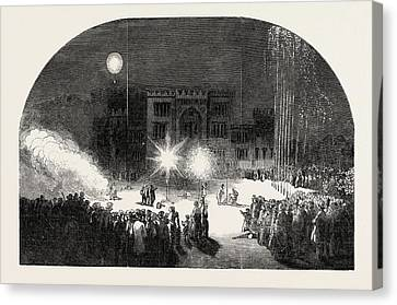 Fireworks At Birr Castle, Parsonstown, The Seat Of The Earl Canvas Print by Irish School