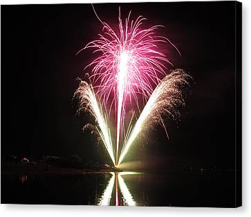 Fireworks At Cooks Canvas Print by Donnie Freeman