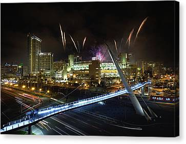 Fireworks At Petco Park Canvas Print by Tom Odaniell