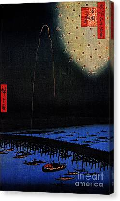 Fireworks At Ryogoku Canvas Print by Pg Reproductions