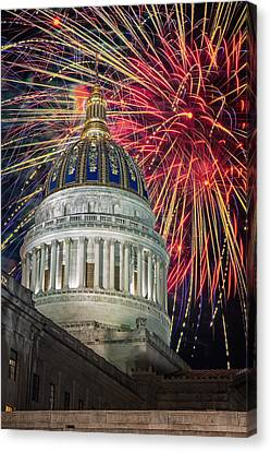 Fireworks At Wv Capitol Canvas Print by Mary Almond