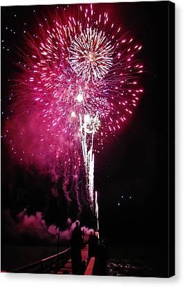 Fireworks Avon Pier 2014 Canvas Print by Mark Lemmon
