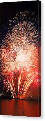 Fireworks Display Against Night Sky Canvas Print by Panoramic Images