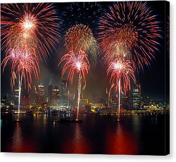 Fireworks Display At Night On Freedom Canvas Print by Panoramic Images