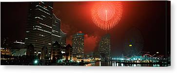 Fireworks Display In The Sky, Minato Canvas Print by Panoramic Images