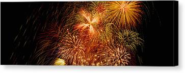 Fireworks Canvas Print - Fireworks Exploding At Night, Luxembourg by Panoramic Images
