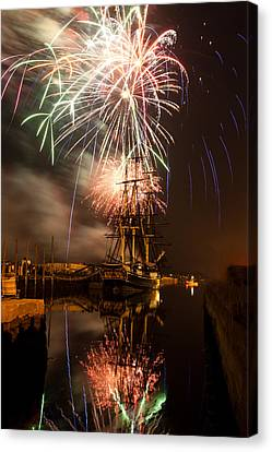 Fireworks Exploding Over Salem's Friendship Canvas Print by Jeff Folger