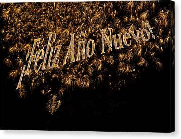 Fireworks Feliz Ano Nuevo In Elegant Gold And Black Canvas Print by Marianne Campolongo
