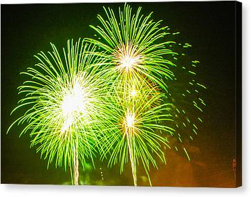 Canvas Print featuring the photograph Fireworks Green And White by Robert Hebert
