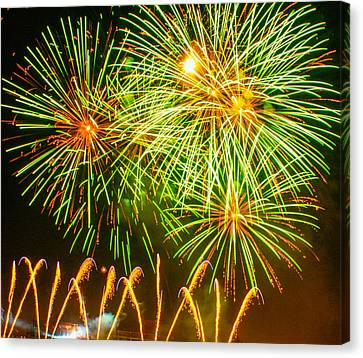 Canvas Print featuring the photograph Fireworks Green And Yellow by Robert Hebert