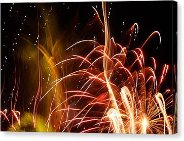 Canvas Print featuring the photograph Fireworks Finale  by Haleh Mahbod
