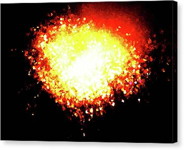 Fireworks Heart Canvas Print by Andrea Barbieri