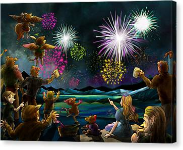 Canvas Print featuring the painting Fireworks In Oxboar by Reynold Jay