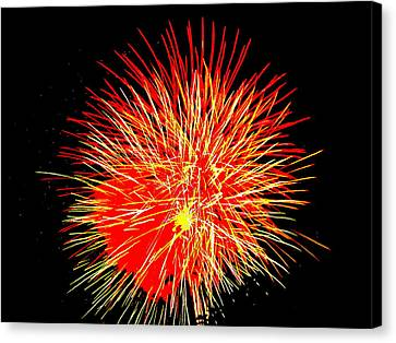 Canvas Print featuring the photograph Fireworks In Red And Yellow by Michael Porchik